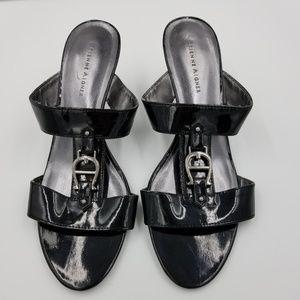 Etienne Aigner Patent Leather Black Open Toe Pumps